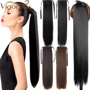 Vigorous Long Silky Straight Synthetic Clip in Drawstring Ponytail Hairpieces for Women Hair Extension High Temperature Fiber