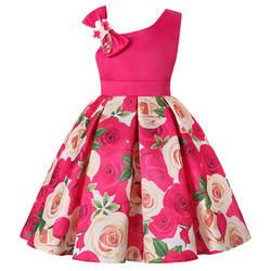 Новинка 2018 года; стильное рождественское торжественное платье; платье для девочек со спущенными плечами; вечерние платья с принтом розы;