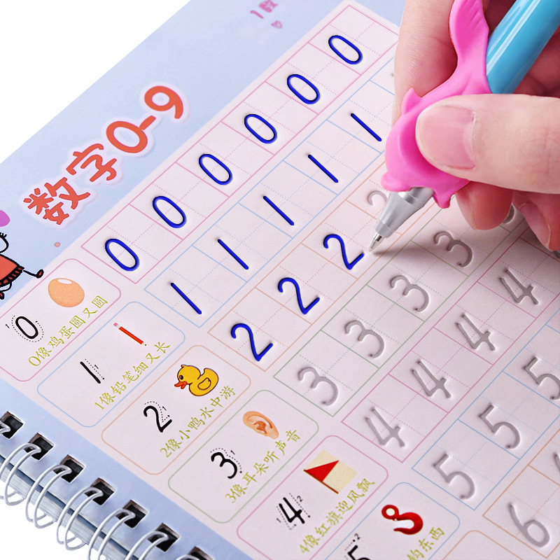 6pcs/set Digital Copybook English Hand Writing Round Handgroove Copy English Alphabet Word Letters Auto Fades Can Be Reused
