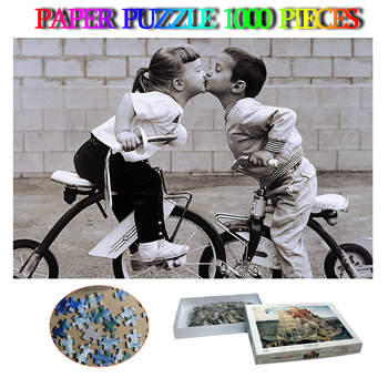 Tricycle Kiss 1000 Pieces Jigsaw Puzzle Paper Adults Decompression Puzzles Toys Kids Education Puzzle Games Home Decor Gifts
