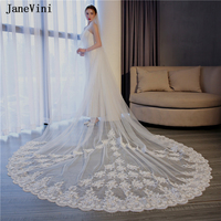 JaneVini Vintage 3M Veil Ivory Cathedral Long One Layer Bridal Veil Lace Applique Edge Tulle Wedding Veils with Comb Gelin Duvak