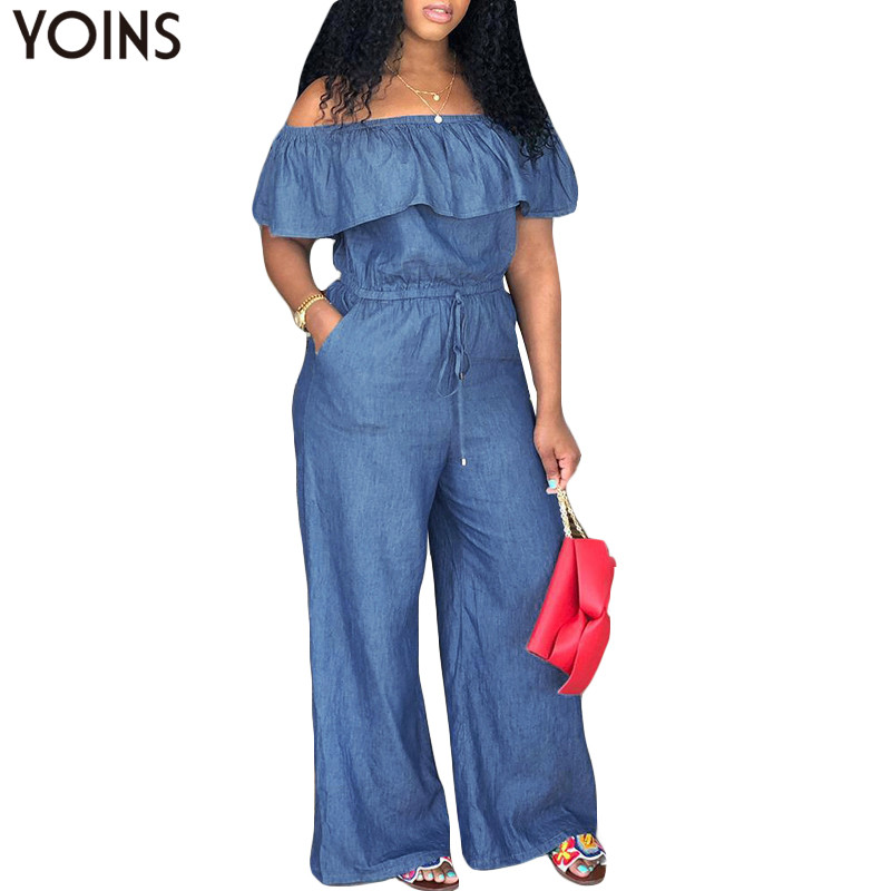 YOINS Denim Rompers Womens   Jumpsuit   2019 Summer Sexy Slash Neck Off Shoulder Ruffles Playsuits Plus Size Wide Leg Pants Overalls