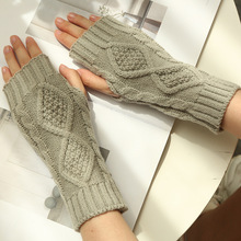 Women Winter Gloves Arm Warmers Female Fashion Crochet Knitting Fingerless Gloves Mitten Wrist Length Glove christmas hemp flowers crochet knit arm warmers