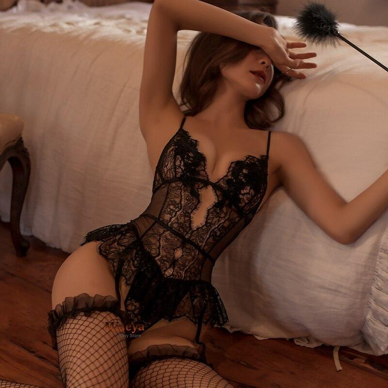 Bodysuit sexy cinta de espaguete aberto virilha corpo terno erótico lingerie crotchless teddy rendas estilingue pijama malha bodysuits