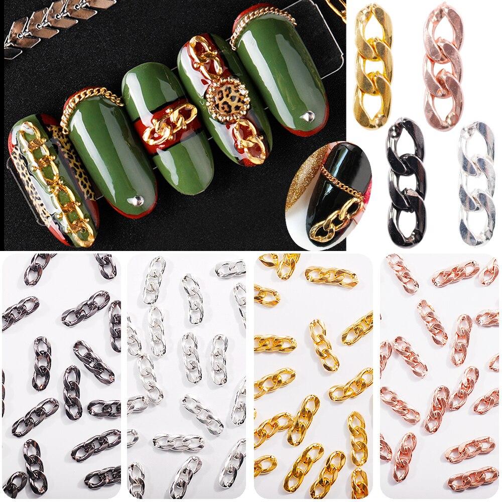 Высокое качество 1 сумка 2000 г розовое золото и серебро цепь черного металла рок панк украшения ногтей 3D Шарм DIY Аксессуары для ногтей