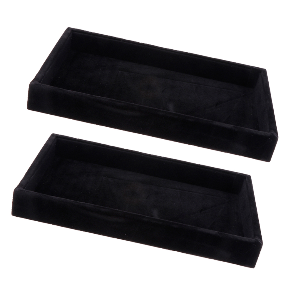 2 Pieces Black Red Grey Velvet Jewelry Display Tray Bracelet Watch Anklet Display Pad, Black