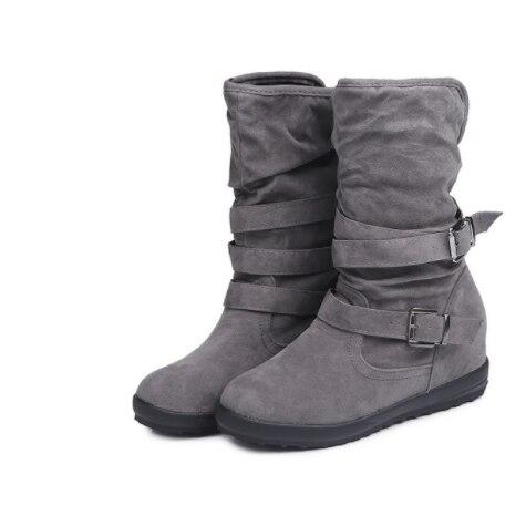 Kış Kadın Çizmeler Katı düz ayakkabı Savaş Sürme yarım çizmeler Bayan Moda Rahat Sıcak Bootie Artı Boyutu 35-43