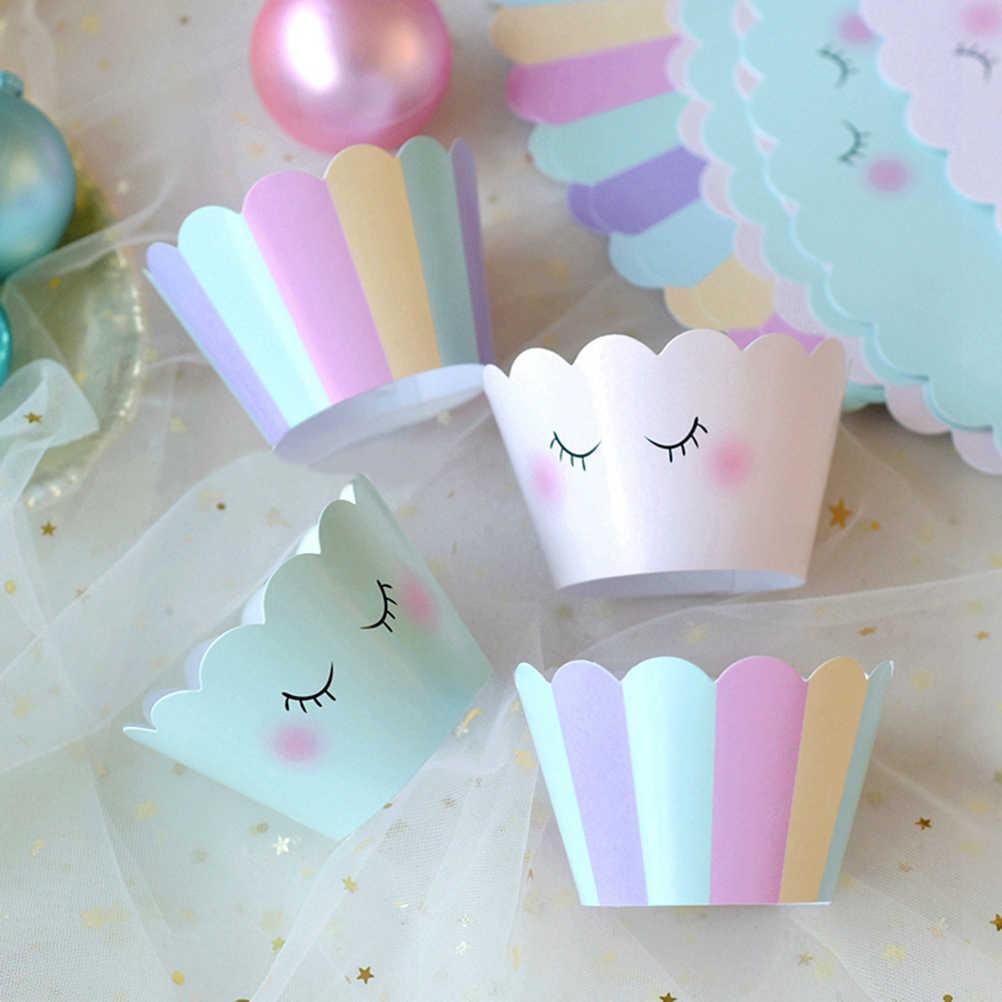 24pcs קריקטורה חד קרן Cupcake אורזי עוגת נייר כוסות יפה Cupcake Wrapper מאפין כוס אפיית עוגת כוס ספינות ילדים מפלגה לטובת