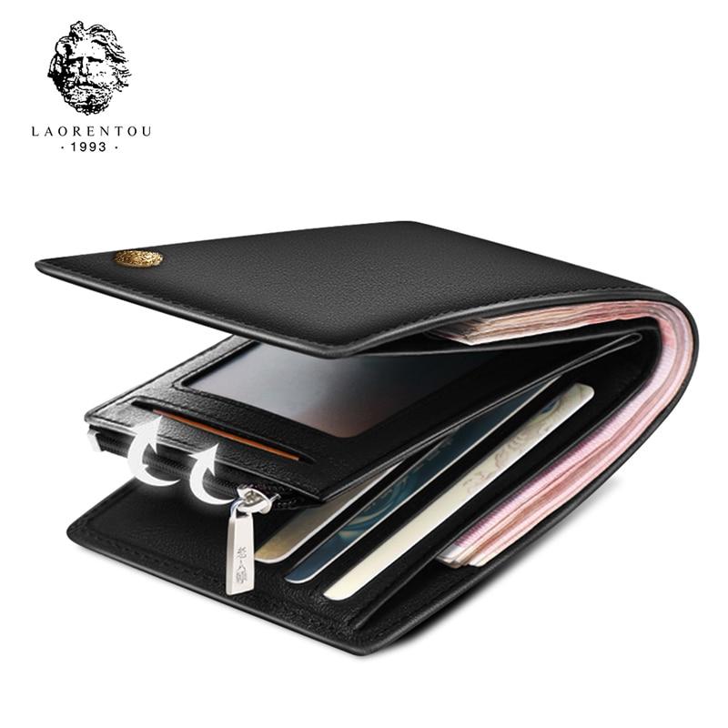 LAORENTOU Cow Leather Men Short Wallet Casual Genuine Leather Male Wallet Purse Standard Card Holders Wallets