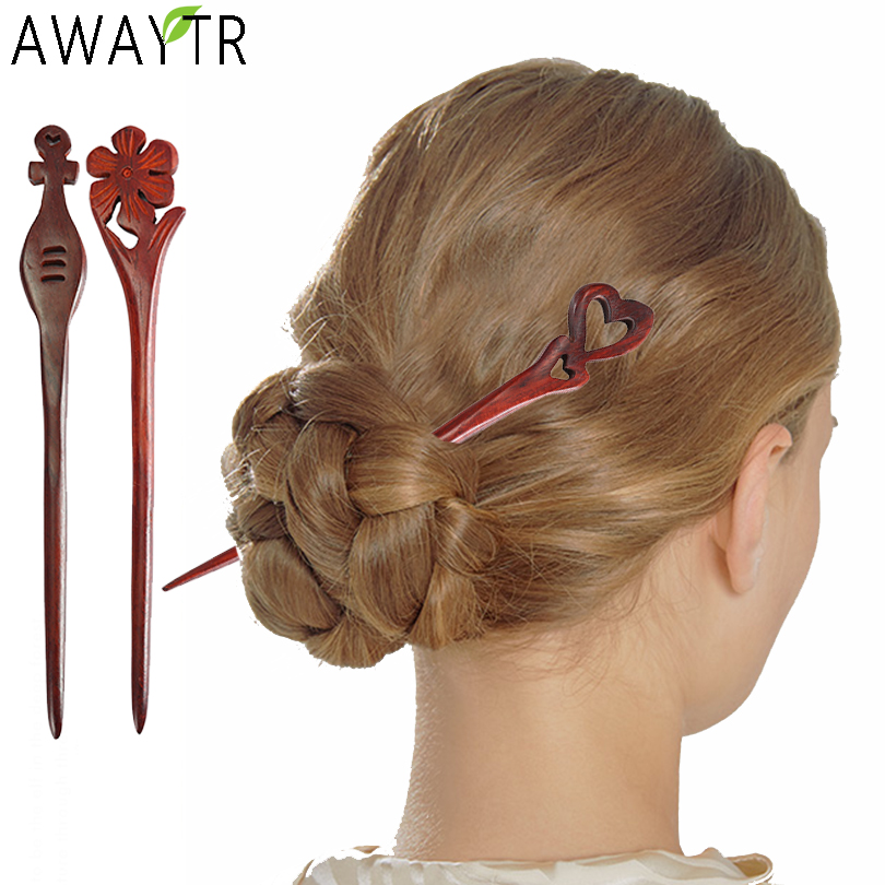 AWAYTR Red Sandalwood Hairpins Clip Hair Sticks Wood Animal Bird Phoenix Hairpins Headpiece Women Hair Accessories Crown Jewelry