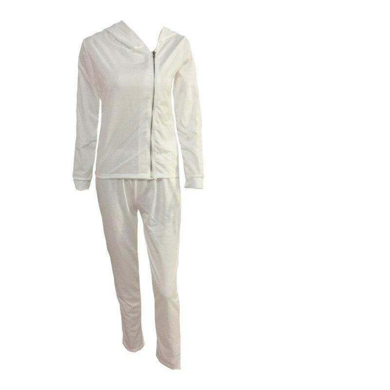 Women Long Sleeve Autumn 2pcs Outfits Tracksuit Irregular Zipper Solid Hoodies Sweatshirt Pants Suits Sport Wear Wz*