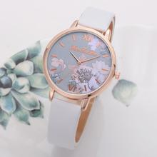 Luxury Women Watch Fashion Flower Alloy Round Dial Analog Faux Leather Watch Strap Ladies Quartz Wrist Watches женские часы
