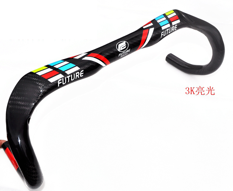 Newest compact type FUTURE racing Road bike 3K full carbon fibre bicycle handlebar carbon bent bar 31.8*380-440mm Free Shipping