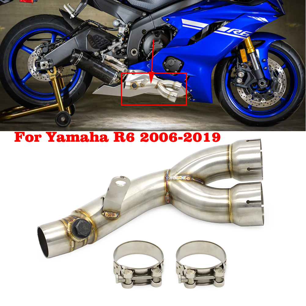 Motorcycle 51mm Exhaust Muffler Middle Link Pipe System For Yamaha YZFR6 2006 2007 2008 2009 2010 2011 2012 2013 2014 2015 2016 2017 2018 YZF R6 YZF-R6 Slip-on