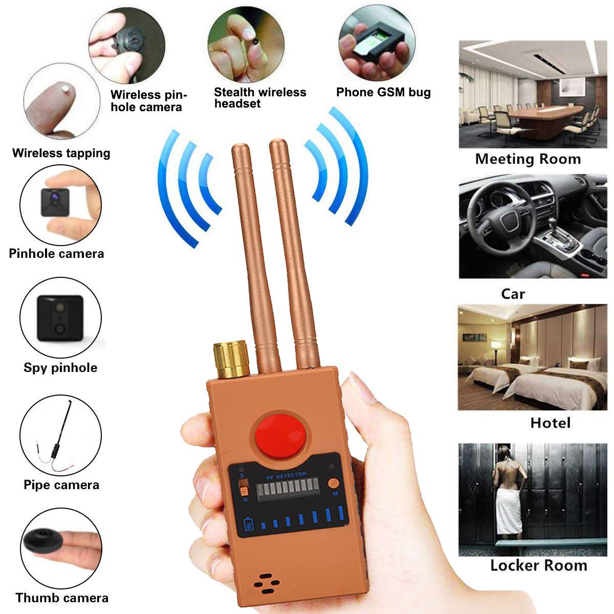 10-15m2 G529 Dual Antenna Anti-tapping Anti-Spy Bug Detector GPS GSM WIFI 2G 3G 4G Camera RF Signal Automatic Detector Finder