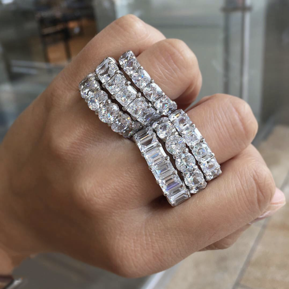 BANDS RINGS finger Six cuts 925 SILVER PAVE SETTING FULL Moissanite DIAMOND ETERNITY ENGAGEMENT WEDDING Ring SET Fine JEWELRY