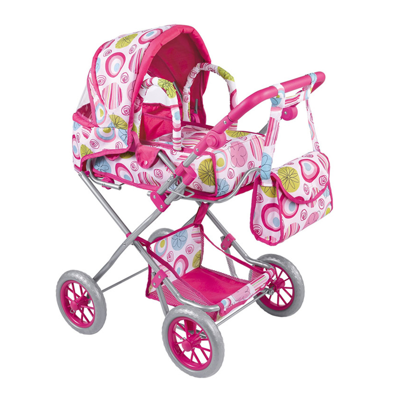 Pretend Play Doll Stroller Furniture Toys Dollhouse Stroller Trolley Children Simulation Toys Baby Pram For Kids Baby Gifts