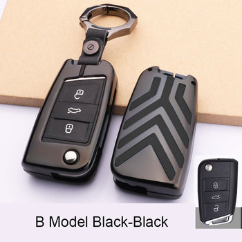 цена на Zinc Alloy Car Key Case Key Bag Cover For Volkswagen Golf 7 MK7 Tiguan Touran 2017 For Skoda Octavia A7 RS For Seat Leon Ibiza