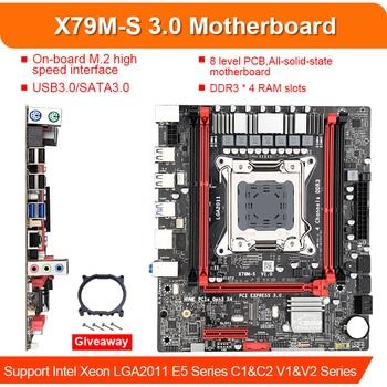 X79M-S LGA 2011-V2 материнская плата 2-Channel DDR3 64G RAM M.2 NVME SATA III USB 3,0 для Xeon V2 E5 всех серий, таких как 2680 2670 2660
