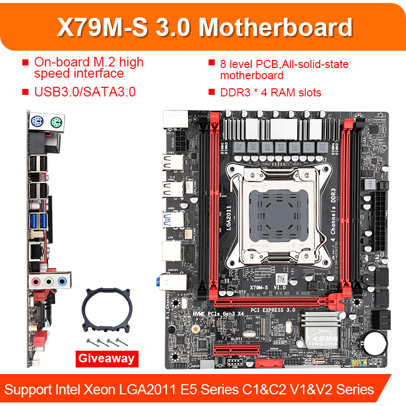 X79M-S LGA 2011-V2 Motherboard 2-Channel DDR3 64G RAM M.2 NVME SATA III USB 3.0 for <font><b>Xeon</b></font> V2 E5 All Series Such As 2680 2670 <font><b>2660</b></font> image