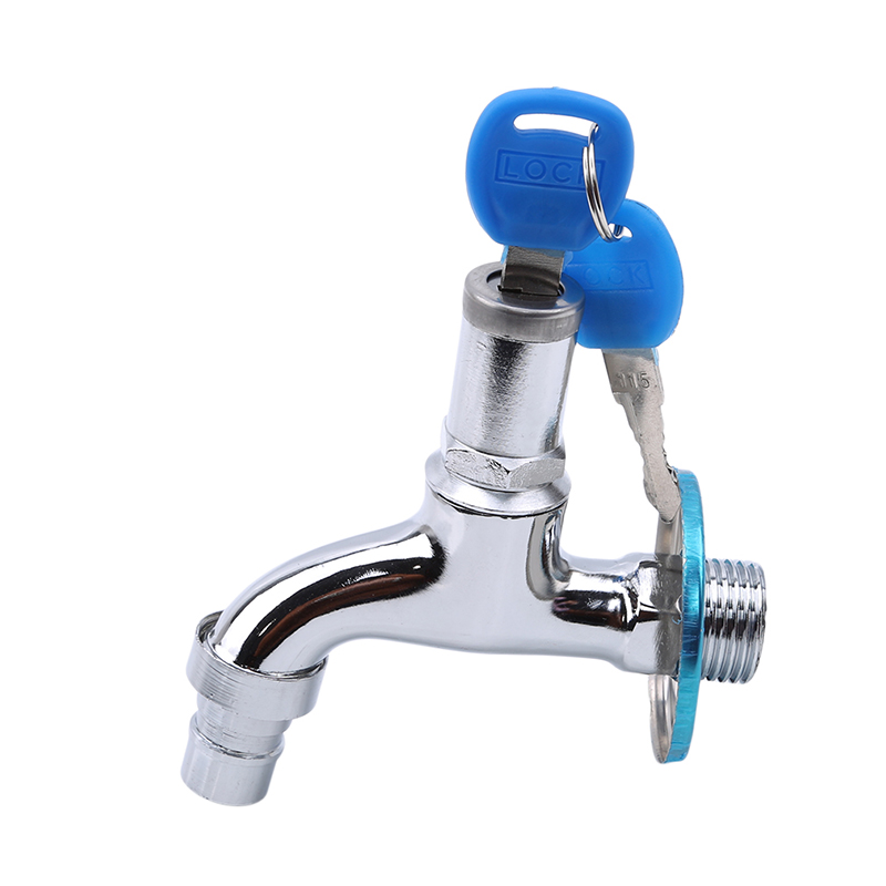 Portable Wash Water Faucet Household Outdoor Faucet With Lock Key Alloy Faucet Single Tap Anti-theft For Outdoor