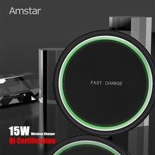 Amstar 15Wไร้สายการรับรองQi Fast Wireless Charging PadสำหรับiPhone 11 Pro XS X XR Samsung S10 s9 Xiaomi 9 Huawei