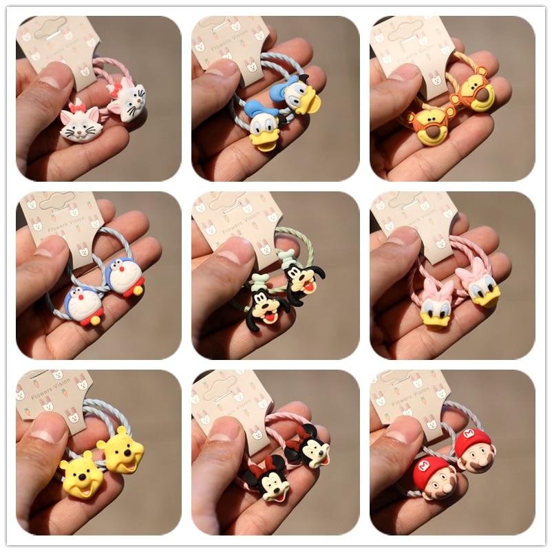 2PCS Cute New Cartoon Cat Bear Princess Headwear Kids Elastic Hair Bands Children Ropes Girls Accessories Baby Headdress