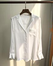 2019 nowa satyna jedwabna damska biała elegancka koszula z długim rękawem karbowany kołnierz biurowa damska koszula i topy z kieszenią tanie tanio Jedwabiu REGULAR Stałe Pełna Ścięty Kieszenie Suknem Pani urząd White 100 Silk Satin
