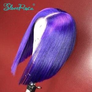 Image 3 - 13X4 renkli 130% yoğunluk kısa Bob peruk brezilyalı Remy saç dantel ön İnsan saç peruk ön koparıp özelleştirmek yapımı SloveRosa