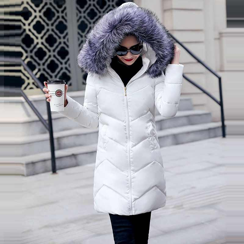 Зимняя женская пуховая куртка повседневная Хлопковая женская зимняя куртка с капюшоном Длинные парки женский меховой воротник теплая Женская куртка, пальто