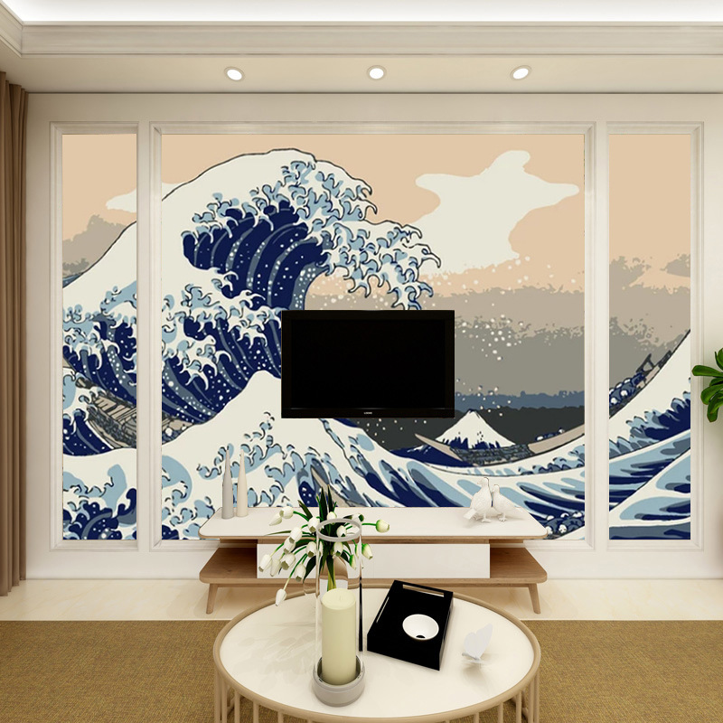 Workwear Wall Hotel Dining Service Mural Wall Ukiyo-E Waves High-definition Japanese Style Sushi Wallpaper