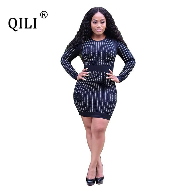 Купить qili женское платье с длинным рукавом со стразами стразы весна
