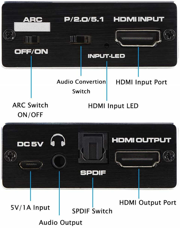 Navceker 4K 60Hz HDMI 2.0 Audio Extractor 5.1 ARC HDMI Audio Extractor Splitter HDMI Audio Extractor Ottico TOSLINK SPDIF