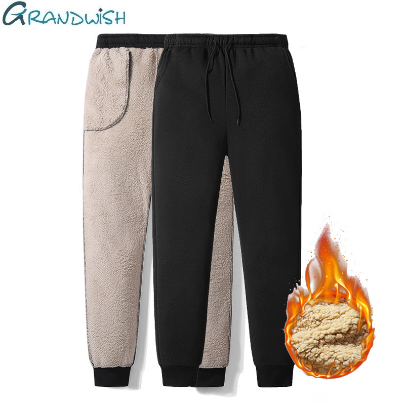 Thicken Sweatpants Winter Men's Plus Velvet Padded Trousers Slim Large Size Warm Pants Solid Trend Sports Jogges M 5XL,ZA306