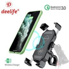 Deelife – Support de téléphone portable pour Moto, QC 3.0, chargeur USB Qi, étanche, x-grip, pour Scooter, Moto
