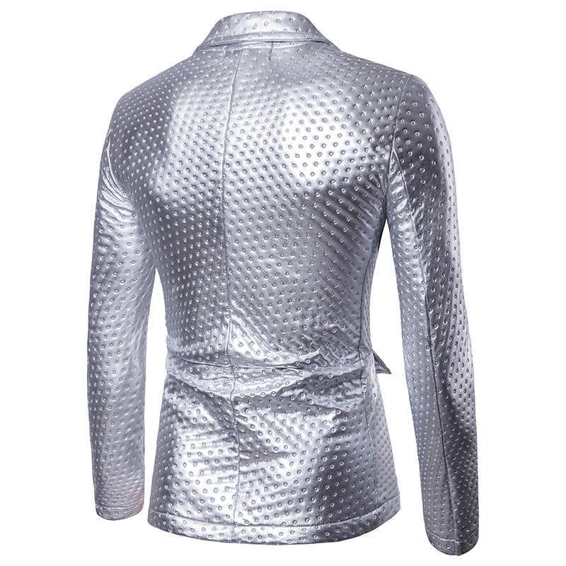 Nice Nice Winter Merk Tij Mannelijke Dikke Mode Lederen Blazer Jas Uitloper Goud Pak Heren Dot Embossing Casual PU Leer blazer