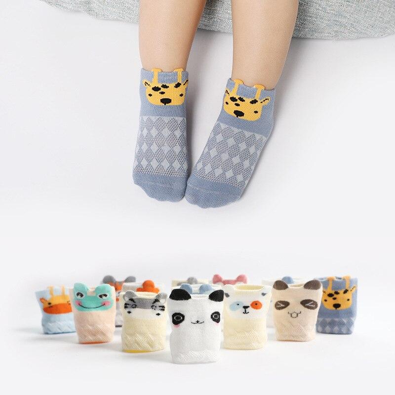 5 pares/lote 0-3 Anos Verão das Crianças Finas Meias de Malha Respirável meias de Algodão Penteado Meias Barco Dos Desenhos Animados Do Bebê Curto tubo de Meias Bebê