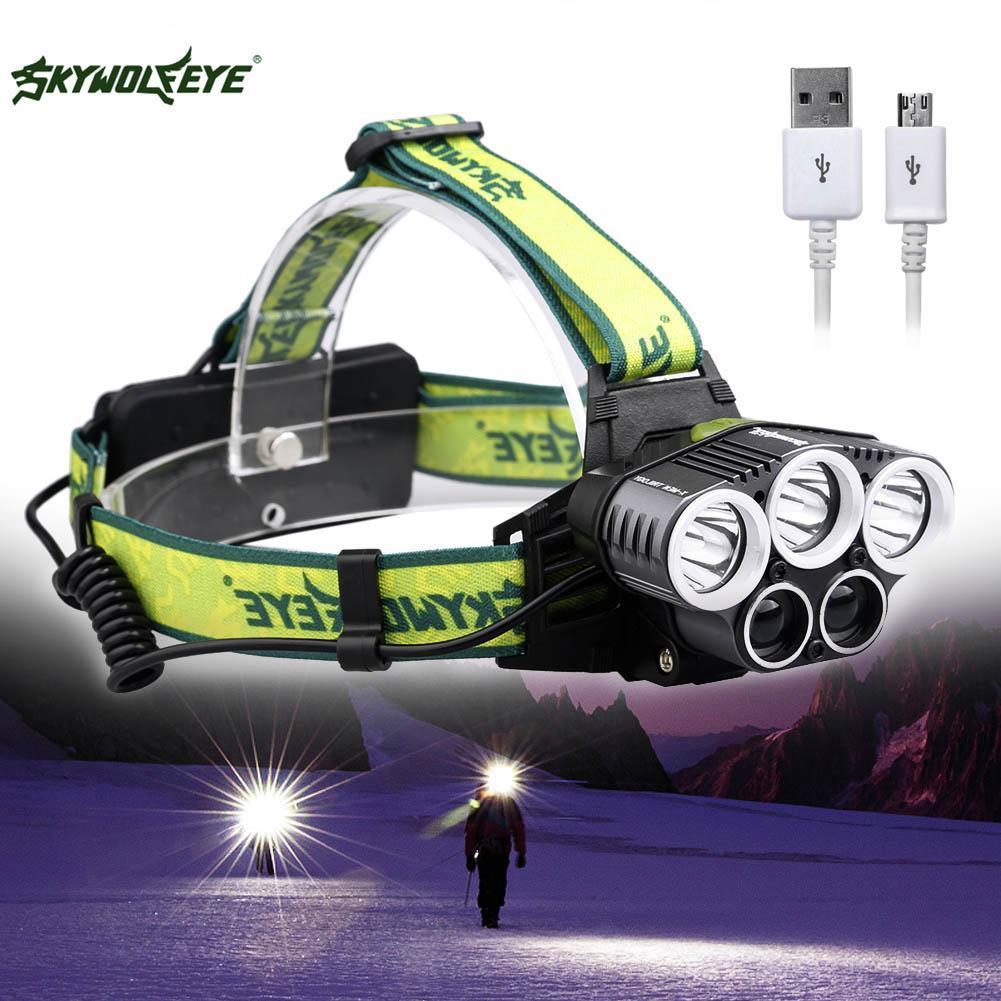 Fishing Headlamp 100000LM 5 LED Headlamp T6 Head Torch Headlights Flashlight Frontal Led USB Powerful Outdoor Camping Light