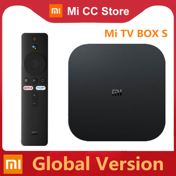 الإصدار العالمي Xiaomi Mi TV Box S 4K Ultra HD Android TV 9.0 HDR 2GB 8GB WiFi Google cast Netflix Smart TV Mi Box 4 مشغل وسائط