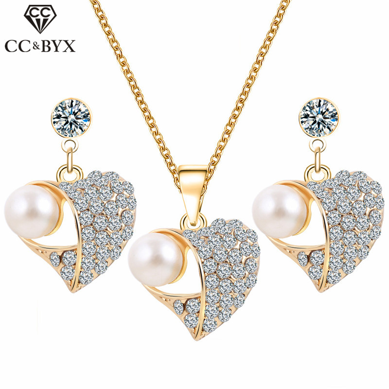 CC Necklace Earring 3pcs Fashion Jewelry Sets For Women Accessories Drop Earrings Pearl Rhinestone Party Fine Gift Bijoux YH160