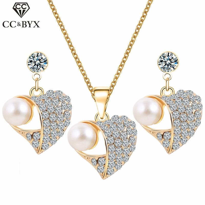 CC Necklace Earring 3pcs Fashion Jewelry Sets For Women Accessories Drop Earrings Pearl Rhinestone Party Fine Gift Bijoux YH160