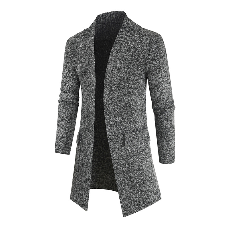 Casual Sweater Mens Long Cardigans Men Fashion Knitted Sweater Jackets Male Slim Cardigan Mens Knit Winter Coats Solid Cardigans