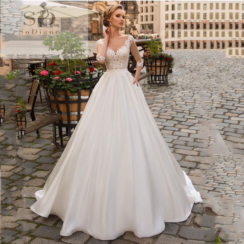 SoDigne 2020 July Wedding Dress Long Sleeve Boho Bride Dresses For Women A Line Ivory Lace Appliques Satin Wedding Gown