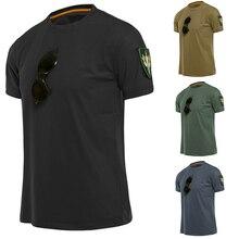 Мужская быстросохнущая футболка с круглым вырезом Военная Тактическая летняя футболка с короткими рукавами