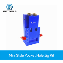 GKTOOLS New Mini Style Pocket Hole Jig Kit used for Woodworking Joinery and Step Drill Bit & Accessories Wood Working Tool Kit