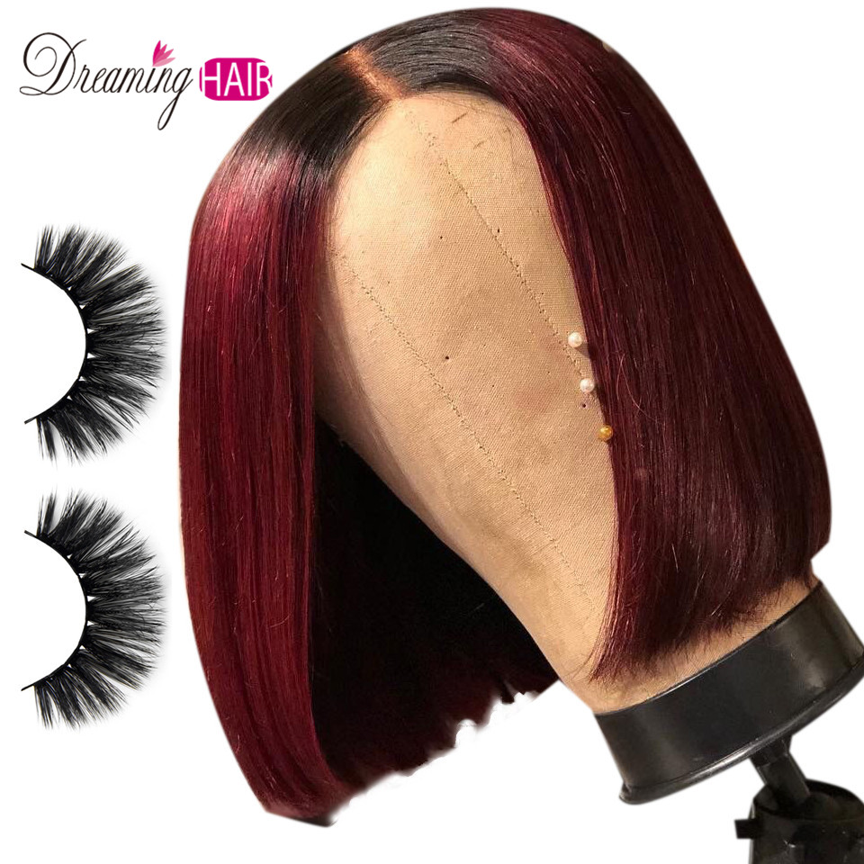 13*6 Red Lace Front Human Hair Wigs For Women Black Brazilian Remy Hair Human Hair 1b 99J Short Straight Bob Wig Bleached Knots