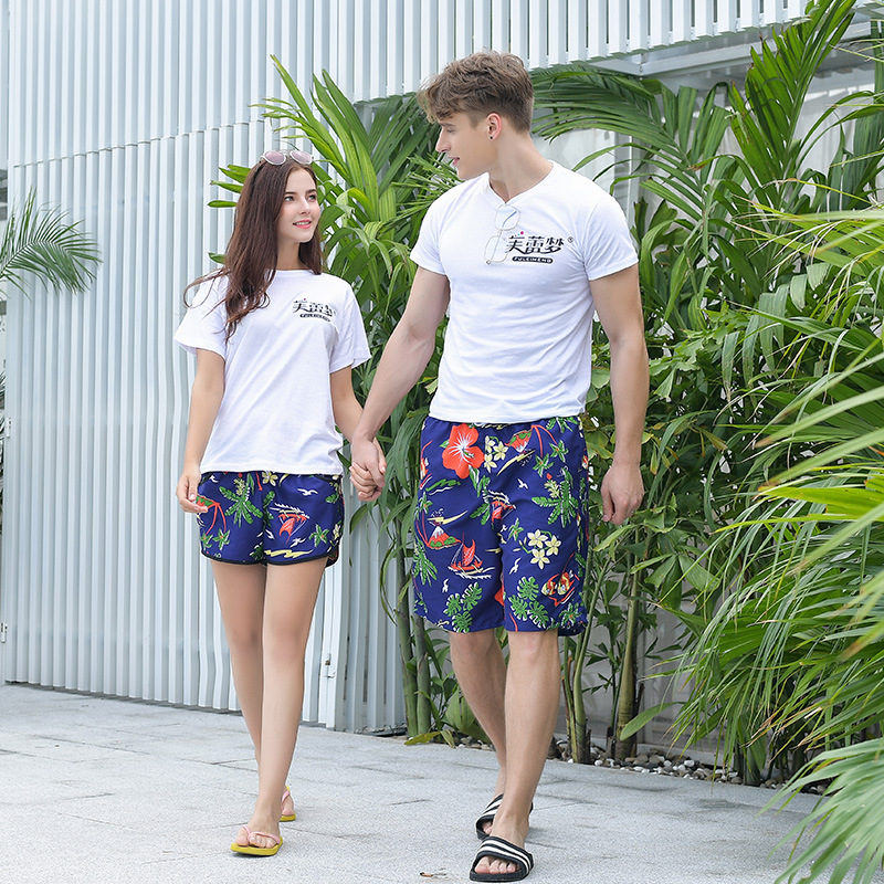 Parent-child Matching Outfit 2019-Three Parent-Child Beach Shorts Men's Seaside Holiday Beach Shorts Shorts Couples Beach Dad &