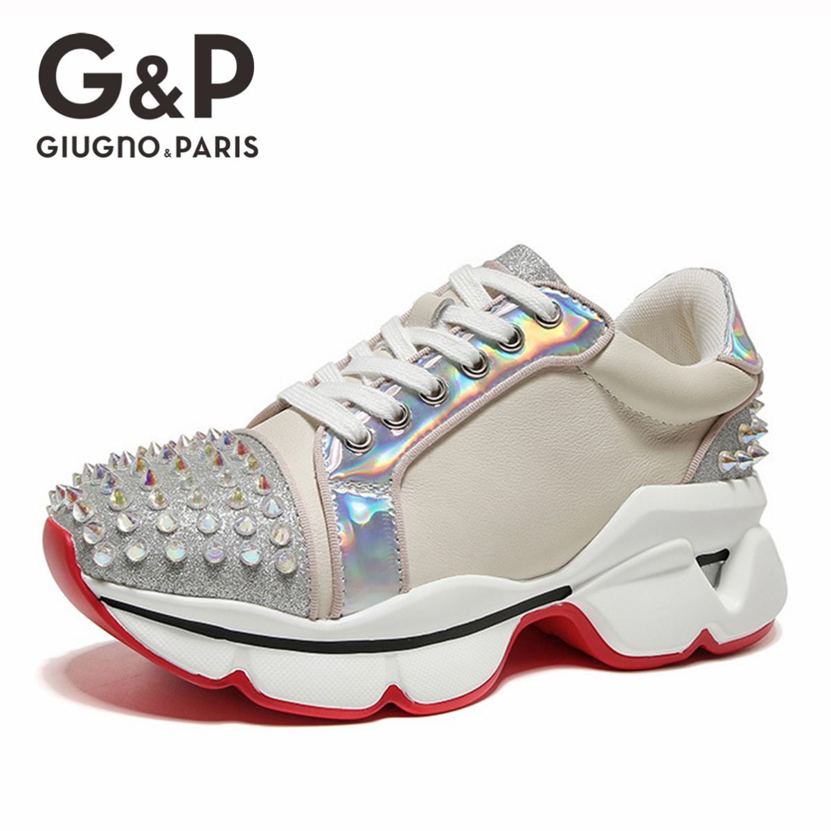 2019 New Hot Women Sneakers Rivets Studded Flat Shoes Woman Platform Ladies Flats  Sneakers Brand Design