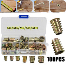 Zinc-Alloy Wood-Insert-Nut Furniture-Nuts Thread Hex-Drive-Head Flanged 100PCS for M6M8/M10