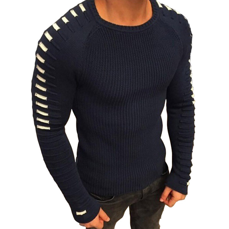 DIHOPE Autumn Winter Sweaters Men Casual Pullover 2019 New Men Long Sleeve O Neck Patchwork Knitted Solid Men Sweater
